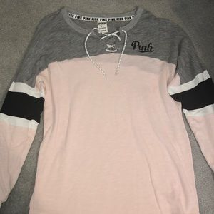 Long sleeve scoop neck PINK shirt, true to size